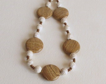 Jasper, Magnesite and Hemitate Necklace,  Simple Earth Tones, Smokeylady54