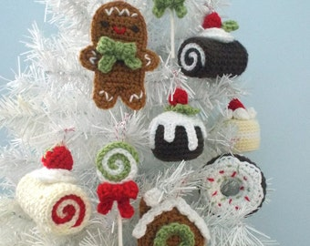 Amigurumi Crochet Christmas Sweets Ornament Pattern Set Digital Download