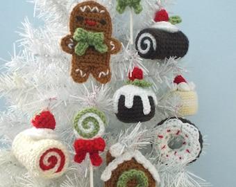 Christmas Sweets Crochet Ornament Pattern Set