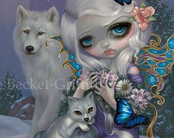 Winter fairy art print by Jasmine Becket-Griffith 8x10 four seasons baby wolf wolves fairies ice snow castle