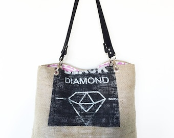 Recycled coffee bean sack tote bag