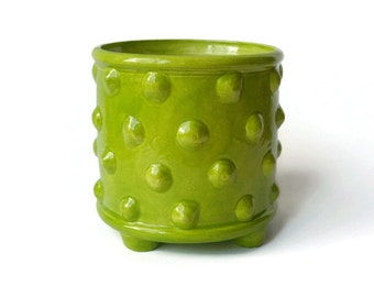 Ceramic Utensil Holder - Bumpy Planter Pot with Feet - Apple Green