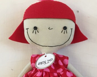 Lydia in Red and Pink Polka Dots and Red Striped Tights handmade cloth rag doll