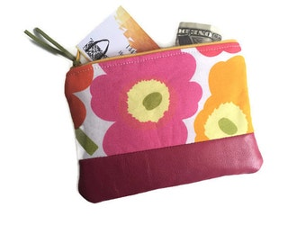 Pink Poppy Small Leather Pouch, Women's Leather Wallet, Leather Zipper Pouch, Change Purse, Coin Pouch