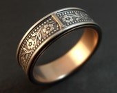 Wedding Ring with 14k Rose Gold Lining - Inlaid Petunia Band