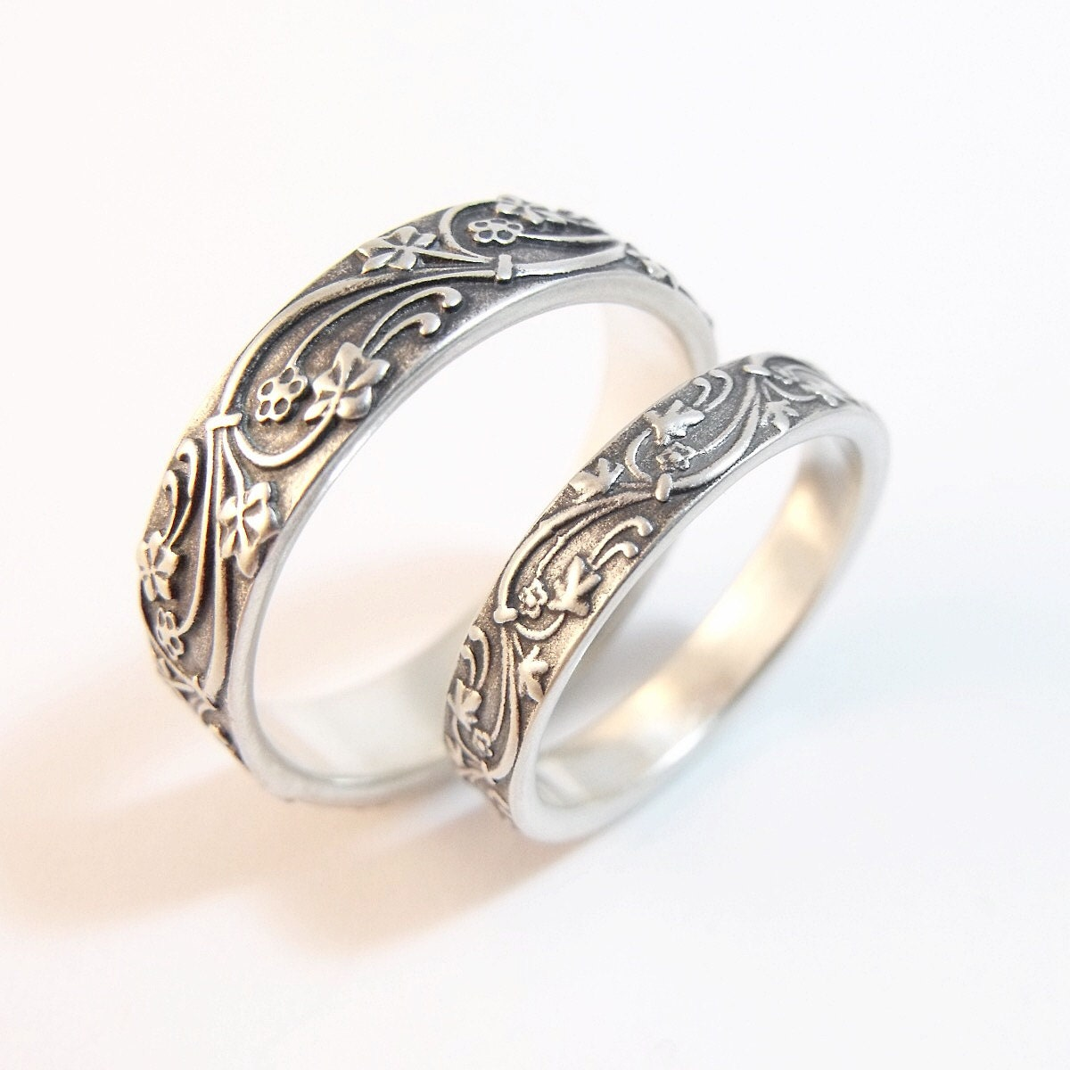 Wedding Band Set Wedding Rings Art Deco By DownToTheWireDesigns