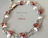 Red & White Bracelet Moonstone Gemstone Beaded Double Two Strand Sterling Silver