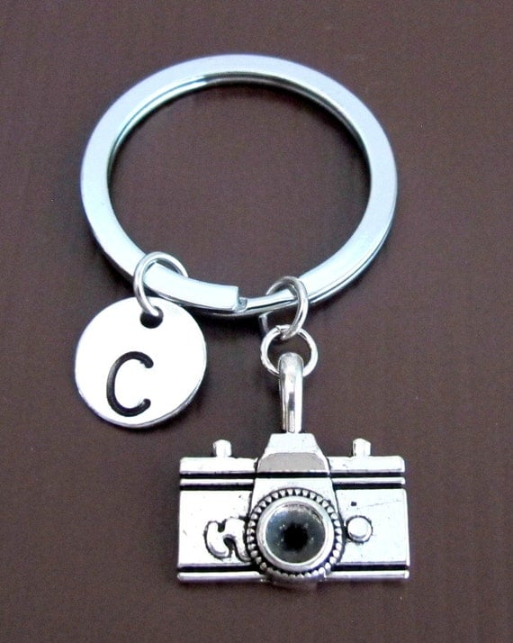 Camera keychain, Personalized Keychain, Camera Key ring, Monogram Initial keychain, Photographer gift Gift for men, Free Shipping In USA