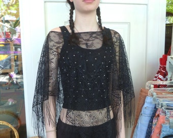 Vintage Magical 90s SHEER LACE Goth GOTHIC Mini Poncho Top Osfm
