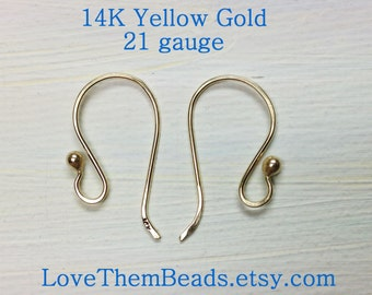 14K Gold Ear Wires, 21 gauge, ball end, hand forged simple basic shepherd hook fish hook style, real solid yellow gold findings supply