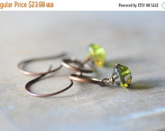 ON SALE Green Czech Rivoli Glass Earrings Green Jewelry Olive Bronze Glass Earrings Urban Modern Brass Jewelry Gift for Mom Gift for Her