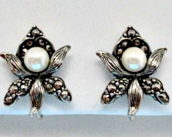Clip On Earrings - Orchid Faux Pearl and Marcasite Vintage Earrings - Orchid Flower Earrings Jewelry Gift