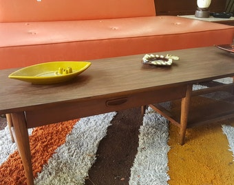 SALE Lane Mid Century Modern Long Coffee Table with Drawer and Caned Shelf