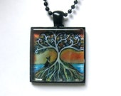 Boston Terrier Jewelry love heart spiritual tree painting Art Glass Tile Pendant Necklace