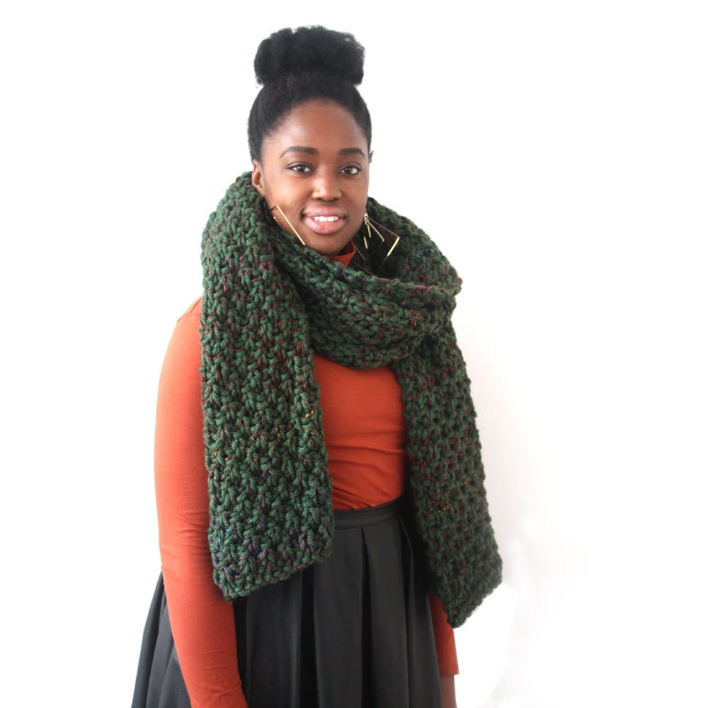 big scarf gift for wool scarf knitted forest