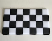 Custom Order for Preston, Black and White, Checker, Fused Glass Sushi Dish, Butter Dish, Cheese Plate, Spoon Rest