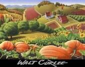Oil Painting, Original Rural Country Farm Autumn Thanksgiving Pumpkin Patch Landscape Fall Folk Art  Appalachian Americana, American