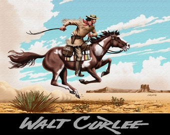 Pony Express Rider Art, Old Wild West Decor, American Western Americana Landscape Giclee Print by Walt Curlee