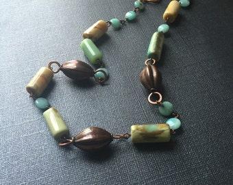 Copper and Peruvian Opal Necklace
