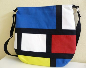 Modern Color Block Crossbody Tote Bag, Primary Colors Shoulder Bag, Mod Purse