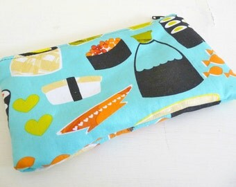 Aqua Sushi Zippered Pouch great for makeup or tech gadgets