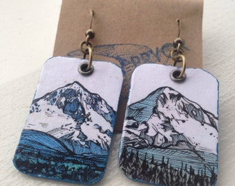 Mt Hood - pdx hand-painted earrings - Portland, Oregon mountain with Mirror Lake
