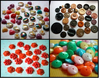 SALE Lot of crafting cabs, buttons, and beads