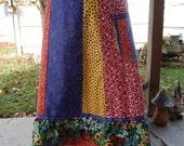 Fun Florals Red & Blue  Hippie Patchwork Tiered Skirt A-line Long and Full Spinner Skirt, bohemian skirt, OOak Skirt, festival skirt,