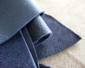 Leather scrap - half pound - Indigo blue bull hide