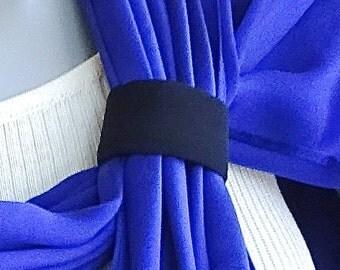 Black Silk Scarf Slide, 100% Silk, Scarf Tie, Scarf Holder, Made to Order to match your item, Artinsilk