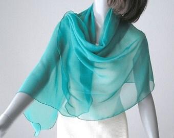 "Aqua Chiffon Shawl, Silk Coverup, Limpet Shell Wrap, Something Blue, Natural Chiffon, Petite 21X63"", S Small, Turquoise Scarf, Ready to Ship"