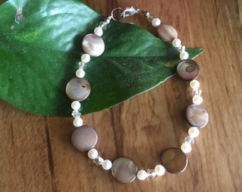 Lip Shell, Pearl and Crystal Bracelet
