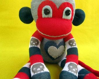 Ossein - Red Gray Blue & Skulls Handmade Best Friend Sock Monkey Plush Doll - Sock Monkey Plush D.I.Y. Kit No 866 - No Sewing Machine Needed