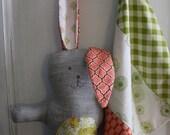 30%OFF SUPER SALE- Primitive Softie Bunny-Doll-One of a Kind-Blankie-Handmade Stuffed Animal-Gift