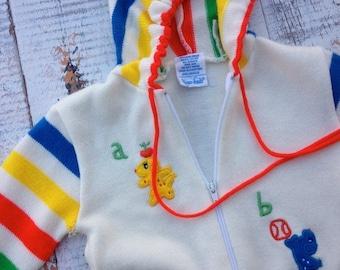 30% OFF SUPER SALE- Vintage Abc Sweater-Childrens-12 Months-Retro Rainbow