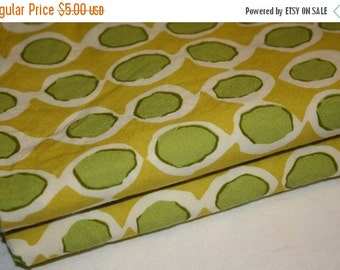 SALE- Sea Monster Fabric-Reclaimed Bed Linen Fabric-Green and Yellow