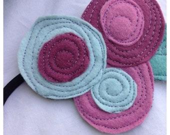 SALE- The Little Garden Bloom- Felt Headband-Brooch-blue and Purple Triple Bloom