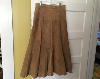 AMAZING Full Suede Skirt / Cognac / Vintage Ann Taylor / Marked Size 10