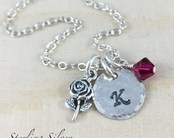 Sterling Silver Rose Charm Necklace, Personalized With An Initial Charm And Birthstone, Gardening Necklace, Silver Flower Necklace