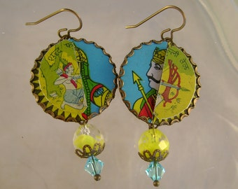 Warrior - Vintage India Turquoise Yellow Olive Oil Tins Bezels Crystals Upcycled Repurposed Jewelry Earrings - 10 Year Anniversary Gift