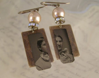Two Faced - Antique 1870s Tintype Photographs, AB Crystal Rhinestones Vintage Pearls Recycled Repurposed Jewelry Earrings