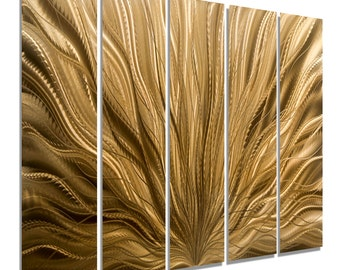Large Modern Wall Sculpture, Multi Panel Wall Art in Copper, Indoor Outdoor Metal Wall Art Painting - Copper Plumage Epic by Jon allen