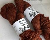 city of books - aurai fingering weight merino yak nylon sock yarn, dyed to order
