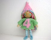 Birthday Bendy Doll by Princess Nimble-Thimble - Waldorf 4th Fourth Birthday Party Cake Topper Girl, Bendable Felt Doll, Cupcake Party Favor