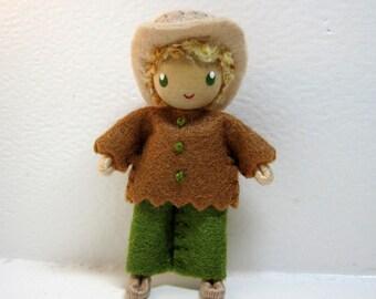 Cowboy Bendy Doll by Princess Nimble-Thimble - Waldorf Felt Bendable Western Boy Doll, Felt Doll, Bendy Cowboy Doll, Dollhouse, Farm