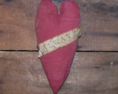 Valentine Heart, ALWAYS, Primitive Heart Ornament, Painted Red Heart, Grungy, Folk Art, Bowl Filler, Tuck - READY to SHIP