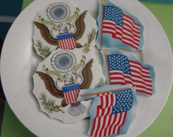 Mosaic Tiles Mix Broken Plate Art Hand Cut Pieces Supply large lot of Patriotic USA Flags Eagles Lincoln Stars Spangled Banner