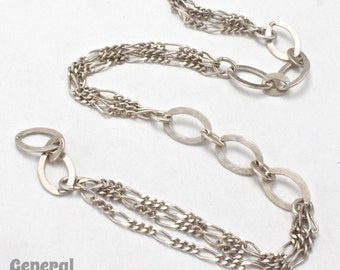 6mm x 9mm Antique Silver Oval Link Alternating Chain #CCF204
