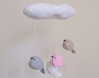 Baby mobile - pink and grey nursery decoration - bird mobile - cloud mobile