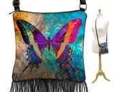 Butterfly Crossbody Bag, Small Sling Bag, Colorful Bohemian Purse, Hippie Bag, Mini Gypsy Bag, Boho Fringe Purse,  Shoulder Bag RTS